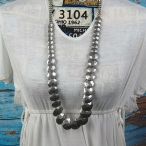 Silver Colored Hammered Bead Necklace